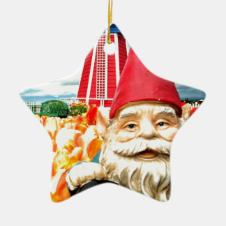Windmill Gnome Double-Sided Star Ceramic Christmas Ornament