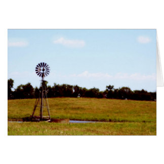Windmill In Field Greeting Card