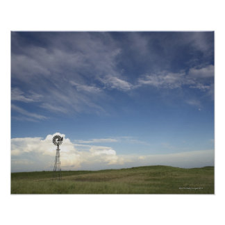 Windmill in Field Poster