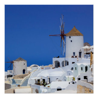 Windmill in Oia, Santorini, Greece Poster