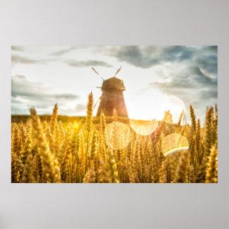 Windmill in rye field poster