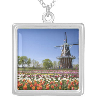 Windmill Island park with tulips in bloom at Silver Plated Necklace
