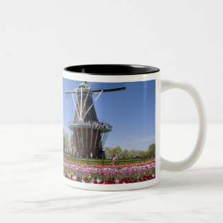Windmill Island park with tulips in bloom at Two-Tone Coffee Mug