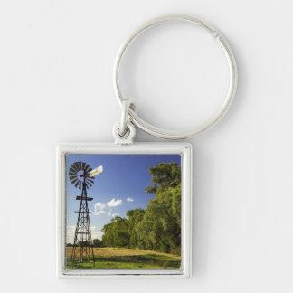 Windmill near Hume Highway, Victoria, Australia Silver-Colored Square Key Ring