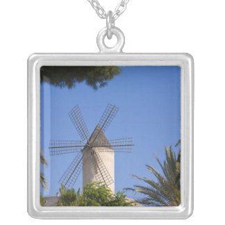 Windmill, Palma, Mallorca, Spain Silver Plated Necklace