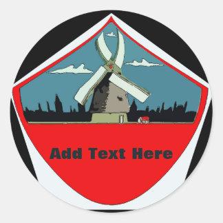 Windmill Red Round Add Text Classic Round Sticker