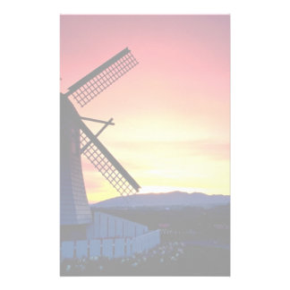 Windmill silhouette with mountains, Skagit Valley, Stationery