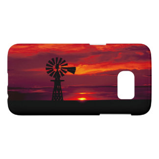 Windmill Sillhoetted Against a Red Sunset