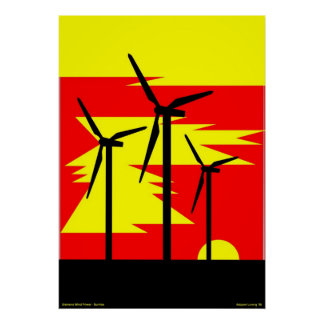 Windmill Sunrise Color - Siemens Wind Power Poster