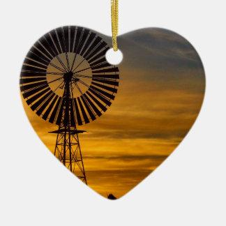 Windmill Sunset ceramic heart decoration