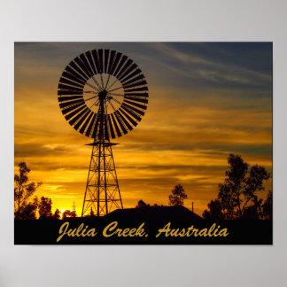 Windmill sunset poster