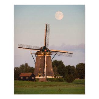 Windmill under a full moon photo print