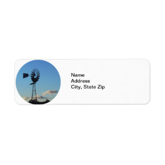 Windmill with Clouds in Background Return Address Label