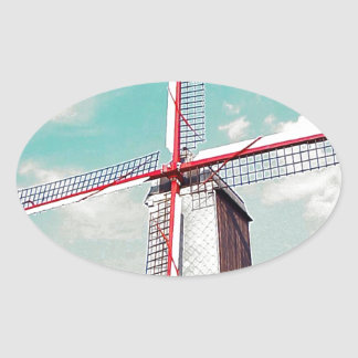 Windmill with red painted sails oval sticker