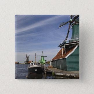Windmill, Zaanse Schans, Holland, Netherlands 15 Cm Square Badge