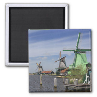 Windmill, Zaanse Schans, Holland, Netherlands 2 Square Magnet