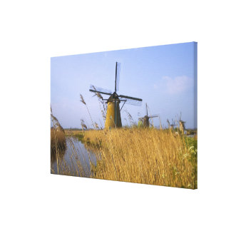 Windmills along the canal in Kinderdijk, 2 Canvas Prints
