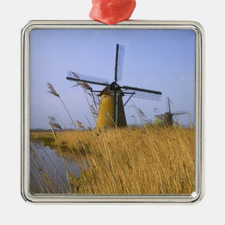 Windmills along the canal in Kinderdijk, 2 Christmas Ornament
