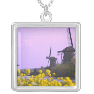 Windmills along the canal in Kinderdijk, Silver Plated Necklace