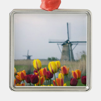 Windmills and tulips along the canal in christmas ornament
