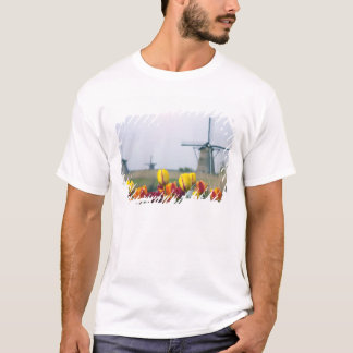 Windmills and tulips along the canal in T-Shirt