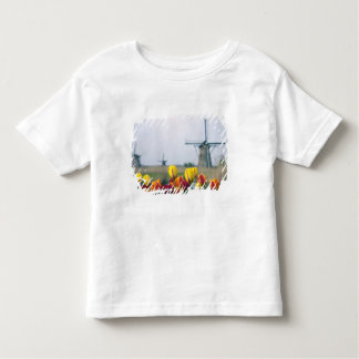 Windmills and tulips along the canal in toddler T-Shirt