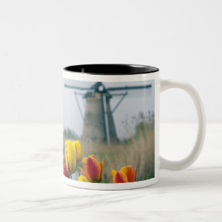 Windmills and tulips along the canal in Two-Tone coffee mug