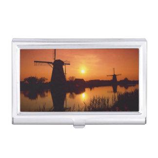 Windmills at sunset, Kinderdijk, Netherlands Business Card Holder
