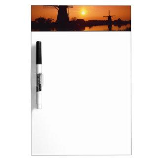 Windmills at sunset, Kinderdijk, Netherlands Dry Erase Board