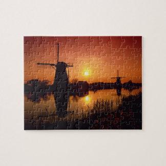 Windmills at sunset, Kinderdijk, Netherlands Jigsaw Puzzle