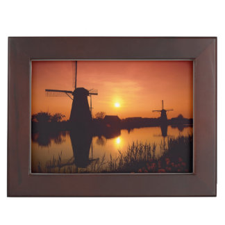 Windmills at sunset, Kinderdijk, Netherlands Keepsake Box