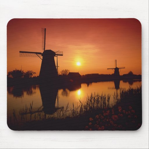 Windmills at sunset, Kinderdijk, Netherlands Mousepads