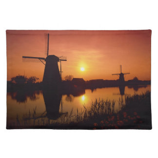 Windmills at sunset, Kinderdijk, Netherlands Placemat