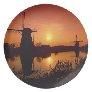 Windmills at sunset, Kinderdijk, Netherlands Plate