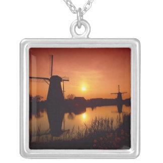 Windmills at sunset, Kinderdijk, Netherlands Silver Plated Necklace