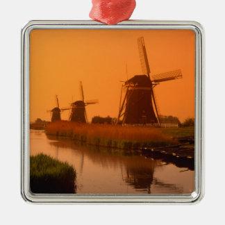 Windmills at sunset, Leidschendam, Netherlands Christmas Ornament