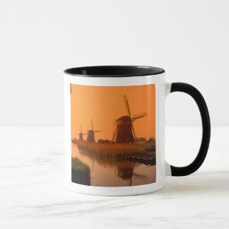 Windmills at sunset, Leidschendam, Netherlands Mug