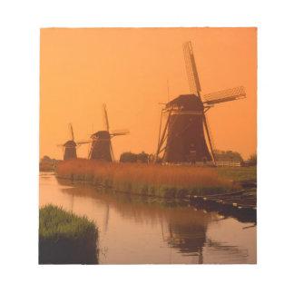 Windmills at sunset, Leidschendam, Netherlands Notepad