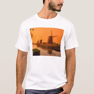 Windmills at sunset, Leidschendam, Netherlands T-Shirt