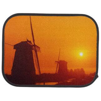 Windmills at sunset, Schermerhorn, Netherlands Car Mat