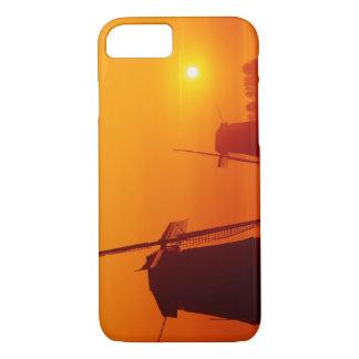Windmills at sunset, Schermerhorn, Netherlands iPhone 8/7 Case