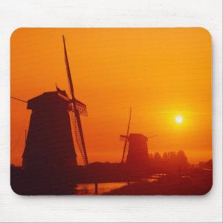 Windmills at sunset, Schermerhorn, Netherlands Mouse Mat