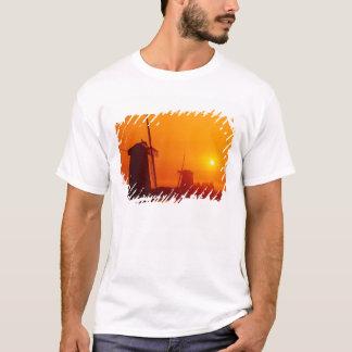 Windmills at sunset, Schermerhorn, Netherlands T-Shirt