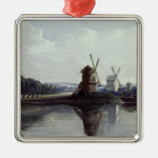 Windmills by a River, 19th century Christmas Ornament