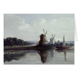 Windmills by a River, 19th century Greeting Card