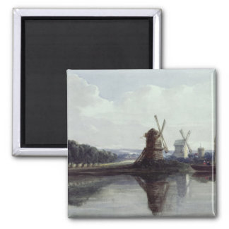 Windmills by a River, 19th century Magnet