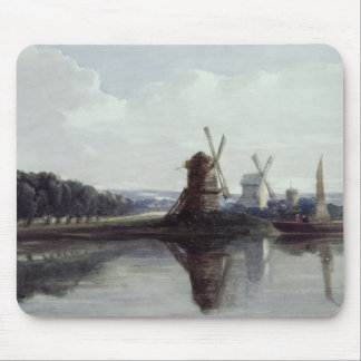 Windmills by a River, 19th century Mouse Mat