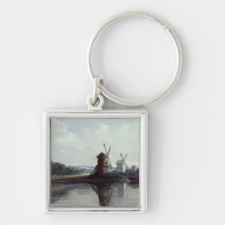 Windmills by a River, 19th century Silver-Colored Square Key Ring