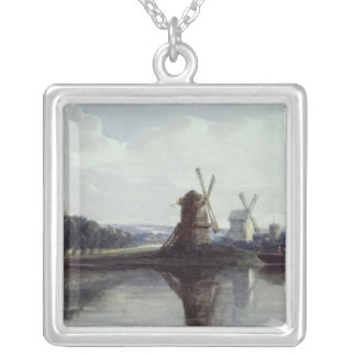 Windmills by a River, 19th century Silver Plated Necklace