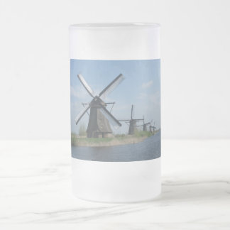 Windmills Frosted Glass Beer Mug